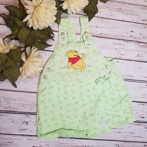 Disney | Winnie the Pooh Green Floral Shortalls